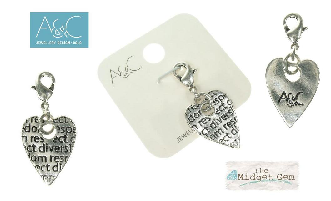 A & C - 'Tweed' Heart Clasp-On Charm Silver Plate