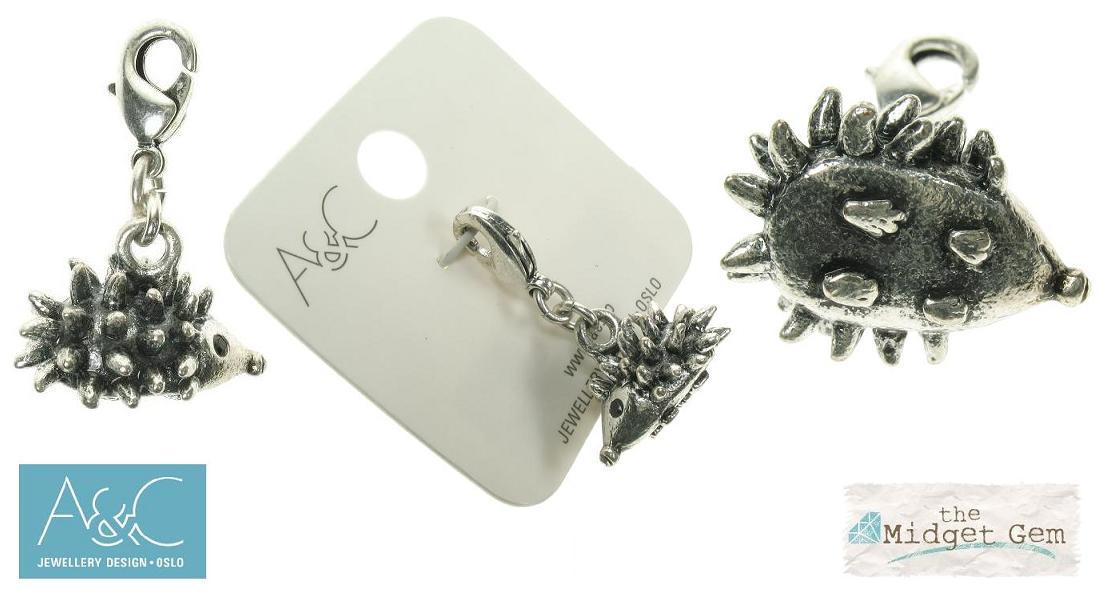 A & C - Swarovski Crystal Hedgehog 'Garden' Clasp-On Charm Silver Plate