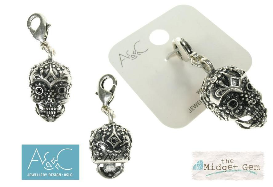 A & C - Ornate 'Day Of The Dead' Skull Clasp-On Charm Silver Plate