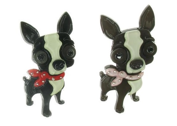 BIG BABY Chihuahua Chiwawa Dog With Neck Tie Brooch/Pin