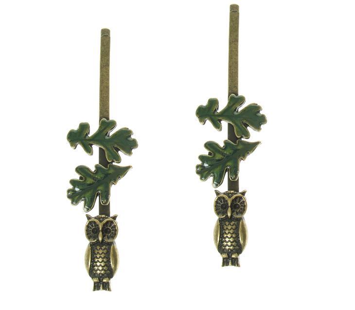 Cute Owl & Oak Leaf WILD WOOD Hair Clips x 2 Vintage Gold - Disaster Designs