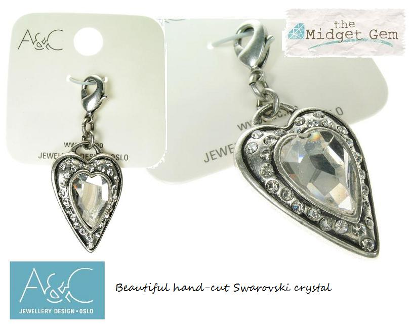 A & C Faceted Crystal Heart Charm Silver Plate