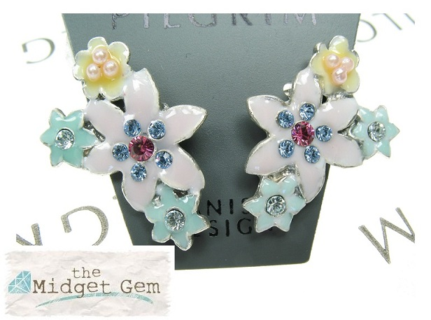 PILGRIM Lily 'Enchanted' Flower Glasses Charms - Silver Plate & Multi-Pastel Colours