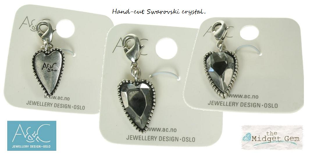 A & C - Faceted Grey Crystal Heart Clasp-On Charm Silver Plate