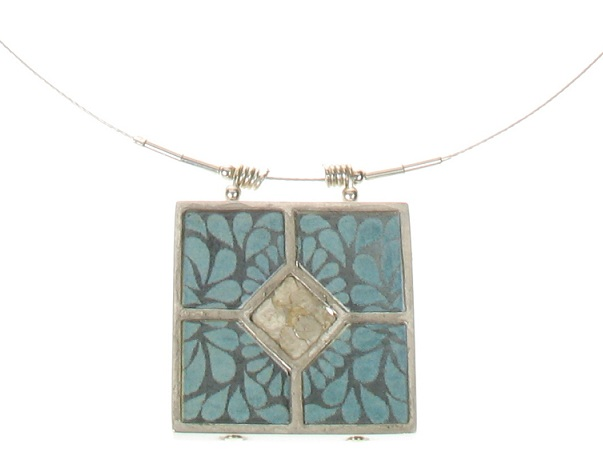 NOA Hand Crafted Mica Diamond Ceramic Tile Pendant Necklace
