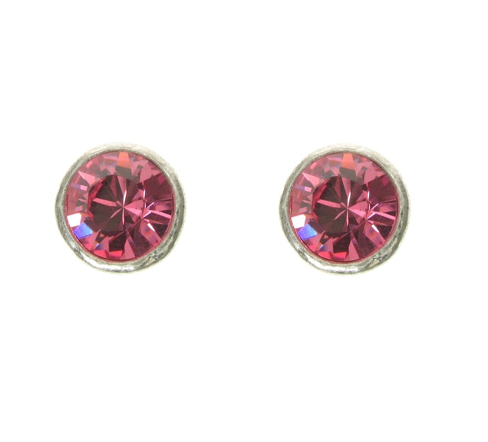 A & C - Pink Swarovski Crystal Silver Plate Stud Earrings