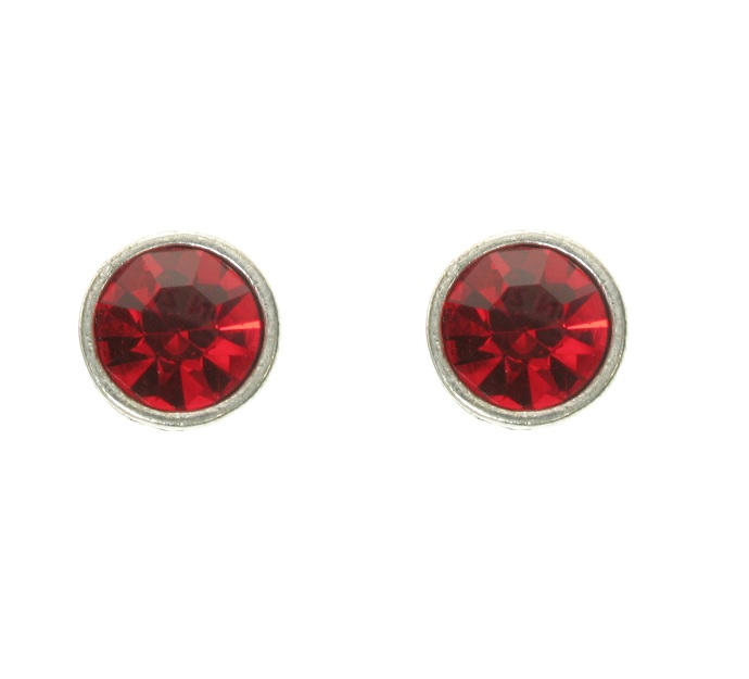 A & C - Red Swarovski Crystal & Silver Plated Stud Earrings