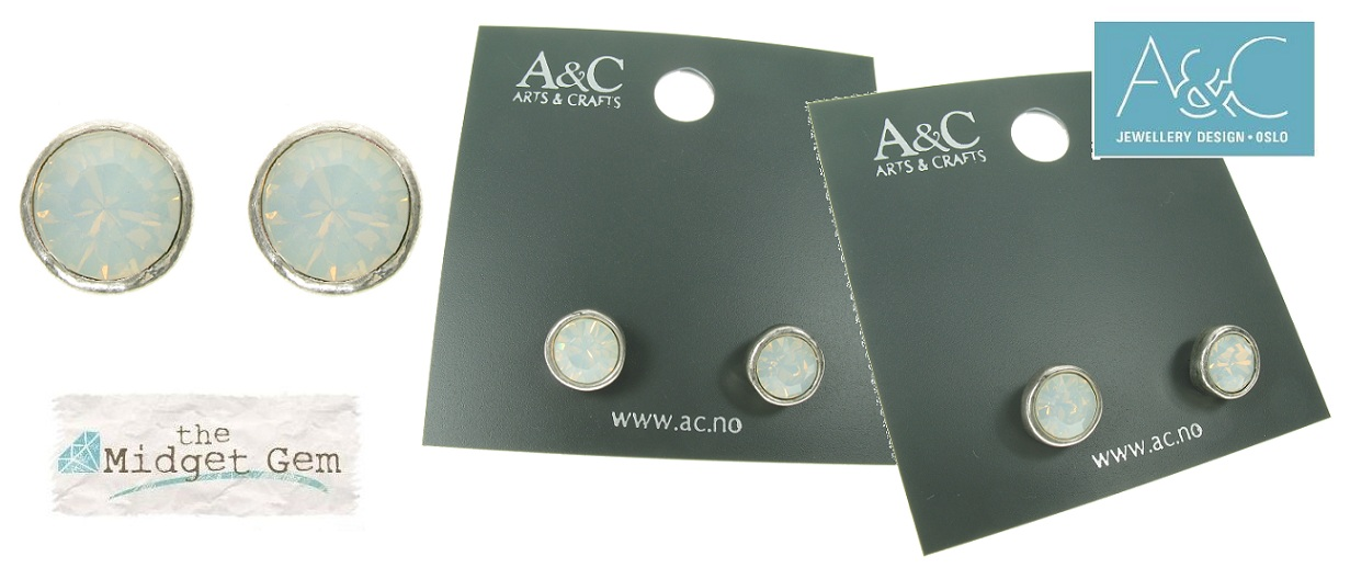 A & C - White Opal Swarovski Crystal Silver Plate Stud Earrings