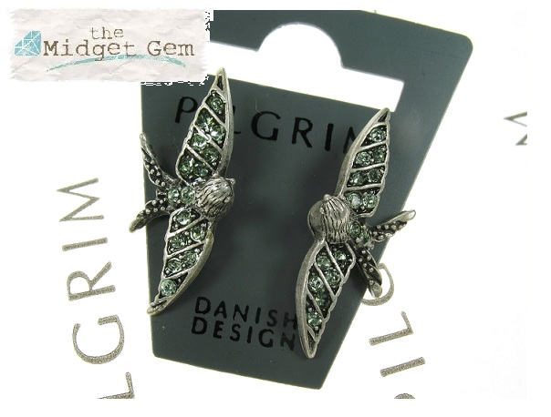 PILGRIM Swallow Bird Glasses Charms - Burnished Silver Plate & Green Swarovski Crystals
