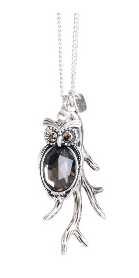 A & C Owl Charm Cluster Long Necklace - Burnished Silver Plate & Hand Cut Crystal
