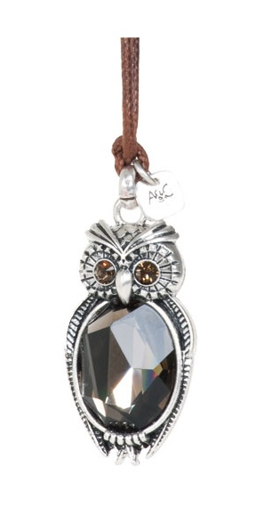 A & C Owl Pendant Long Necklace - Burnished Silver Plate & Hand Cut Crystal