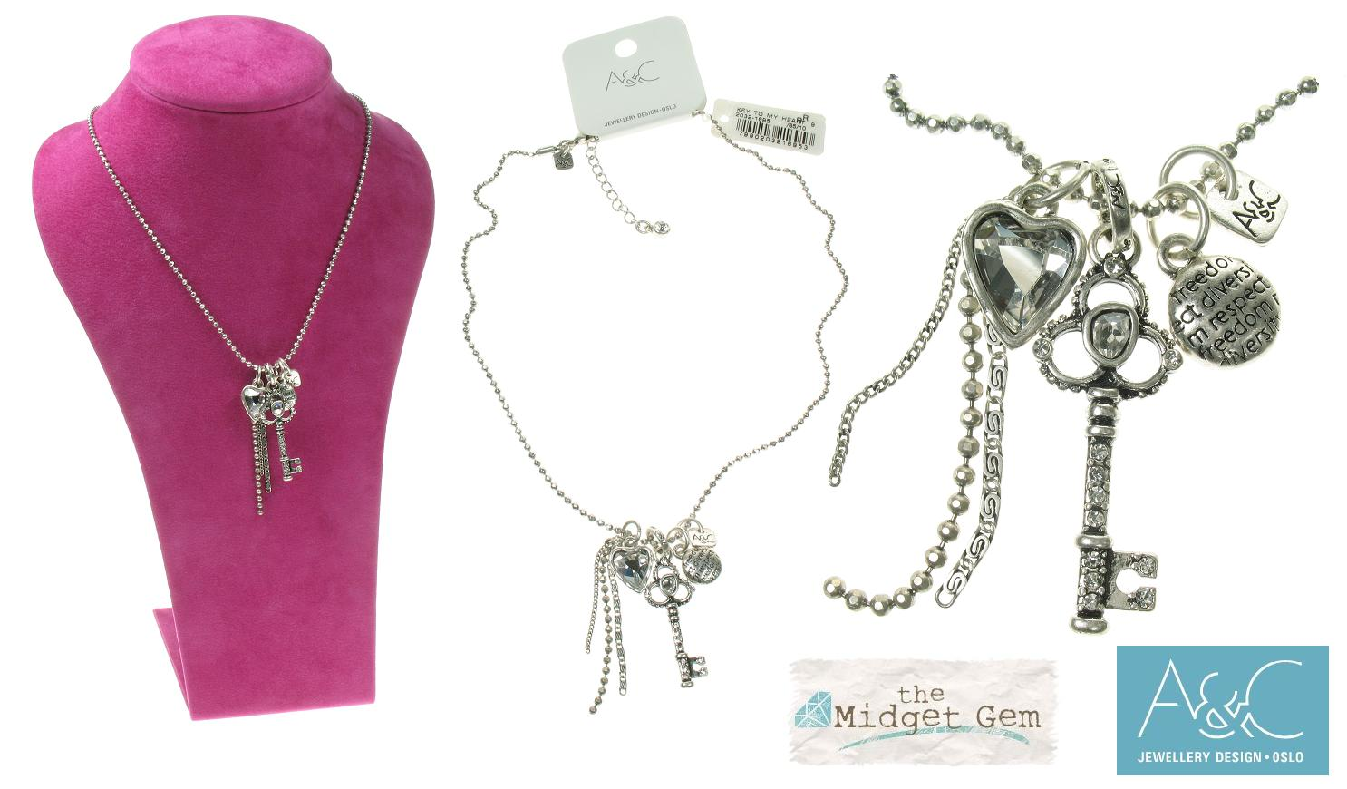 A & C Key To My Heart Small Charm Bunch Necklace