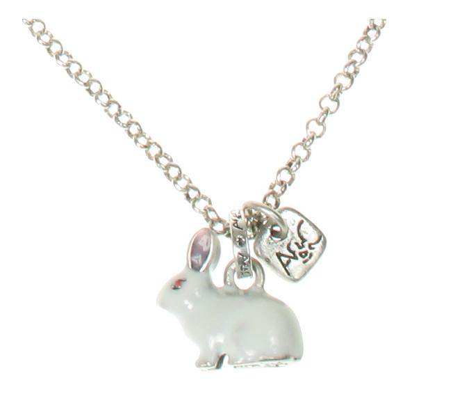 A & C - Small White Rabbit Necklace (Oxidised Silver Plate)
