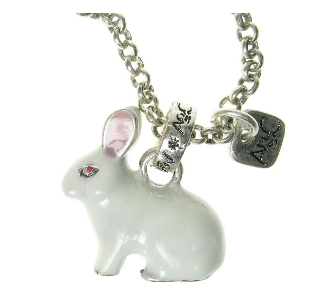 A & C - Large White Rabbit Necklace (Oxidised Silver Plate)
