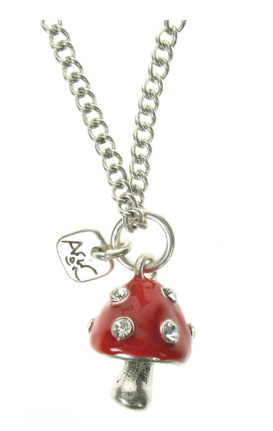 A & C Funny Mushroom Pendant Necklace - Burnished Silver Plate