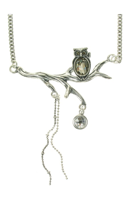 A & C Owl On Branch Pendant Necklace - Burnished Silver Plate & Hand Cut Crystal