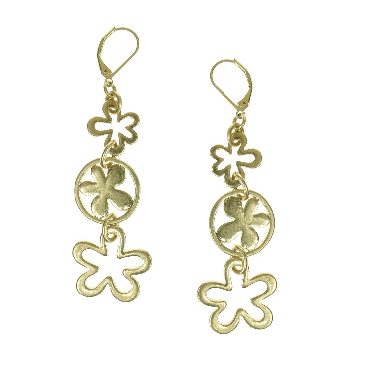 The Bohm Blossom Trio Flower Dangly Earrings - Gold Plate