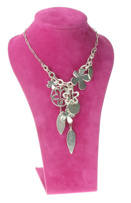 The Bohm Blossom Flower Charm Necklace - Silver Plate