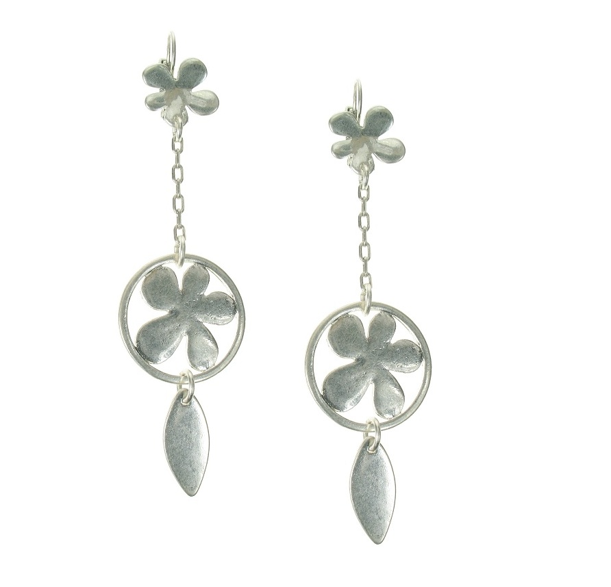The Bohm Blossom Flower Dangly Earrings - Silver Plate