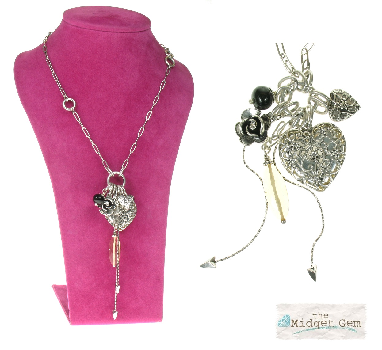 The Bohm - Summer Lovin' - Heart Locket Long Necklace - Black/Silver Plate