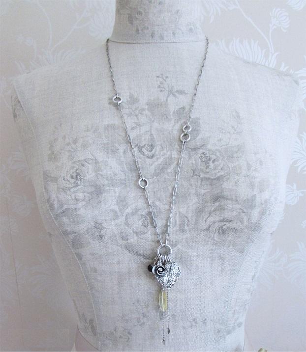 The Bohm - Summer Lovin' - Heart Locket Long Necklace - Black/Silver Plate