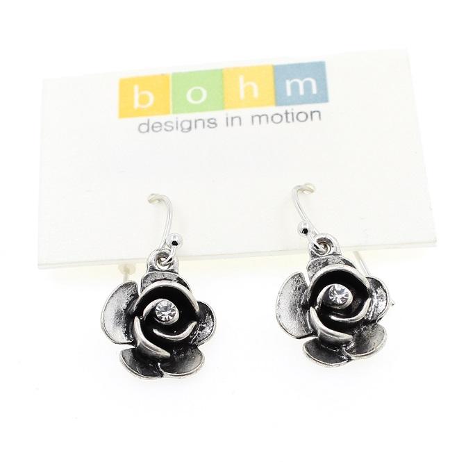 The Bohm - Summer Lovin' - Rose Earrings - Silver Plate/Clear
