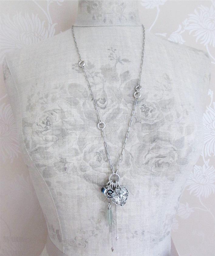 The Bohm - Summer Lovin' - Heart Locket Long Necklace - Blue/Silver Plate