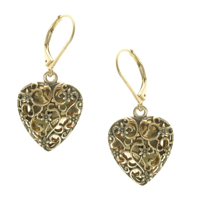 The Bohm - Summer Lovin' - Heart Locket Earrings - Gold Plate