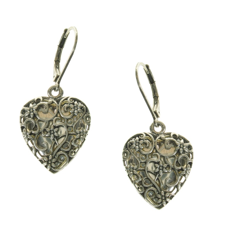 The Bohm - Summer Lovin' - Heart Locket Earrings - Silver Plate