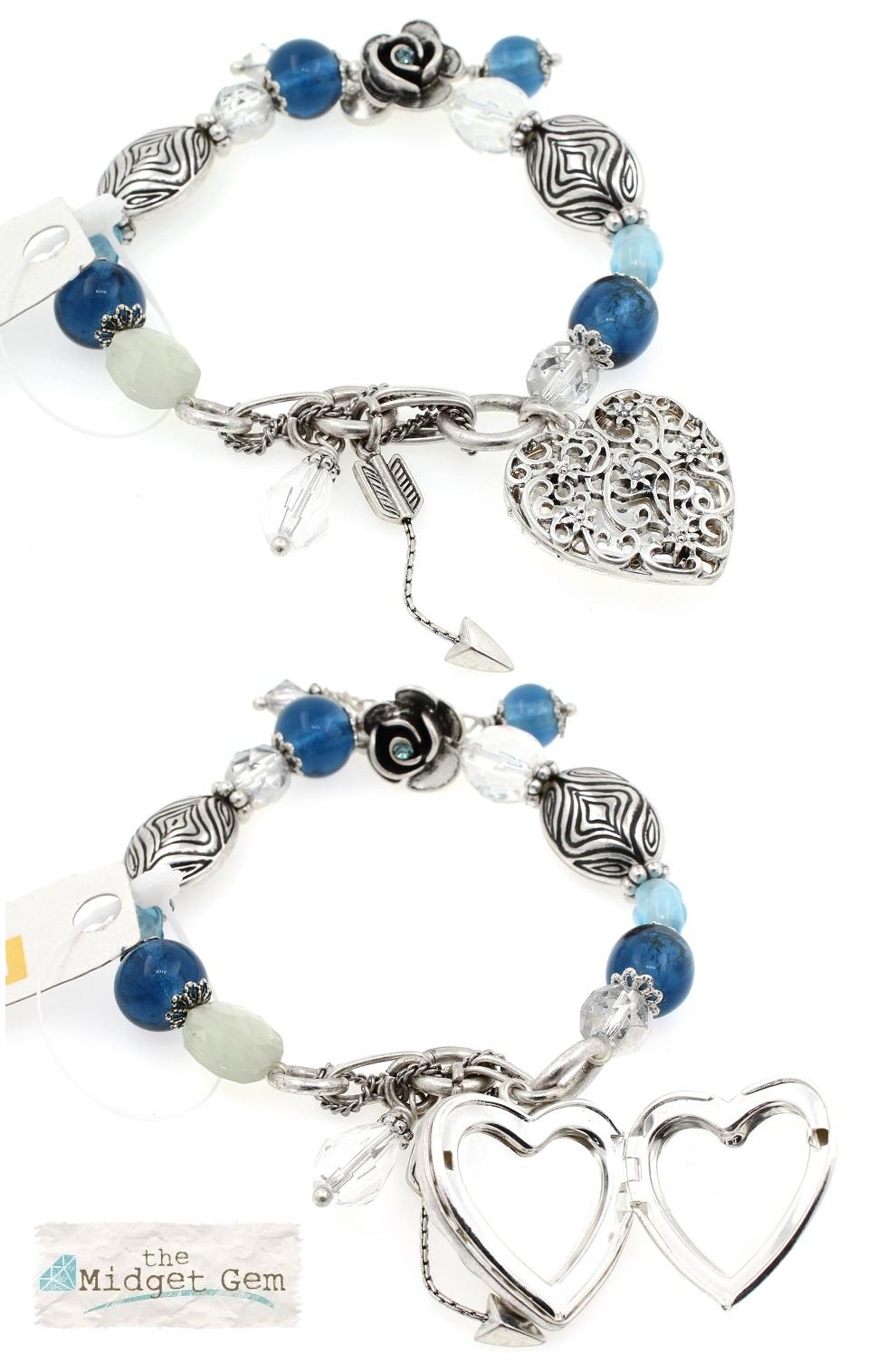 The Bohm - Summer Lovin' - Heart Locket Bracelet - Blue/Silver Plate