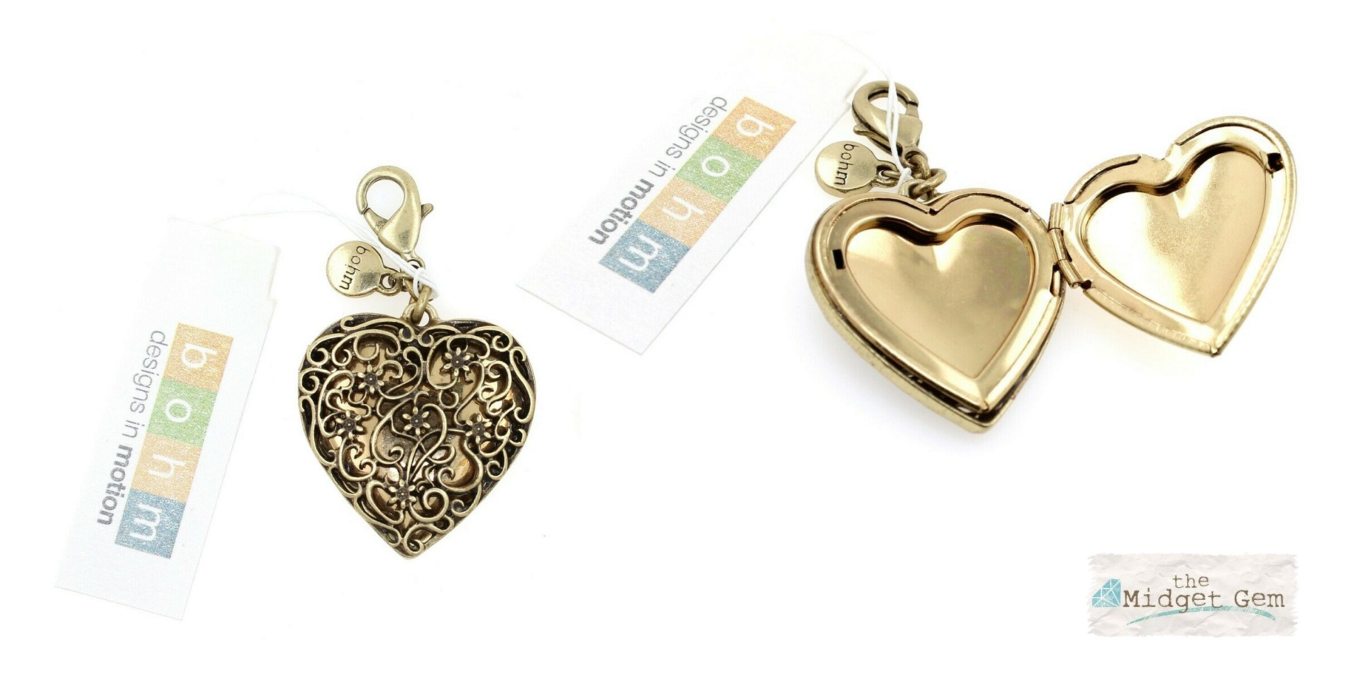 The Bohm - Summer Lovin' - 3 cm Heart Locket - Gold Plate BNWT