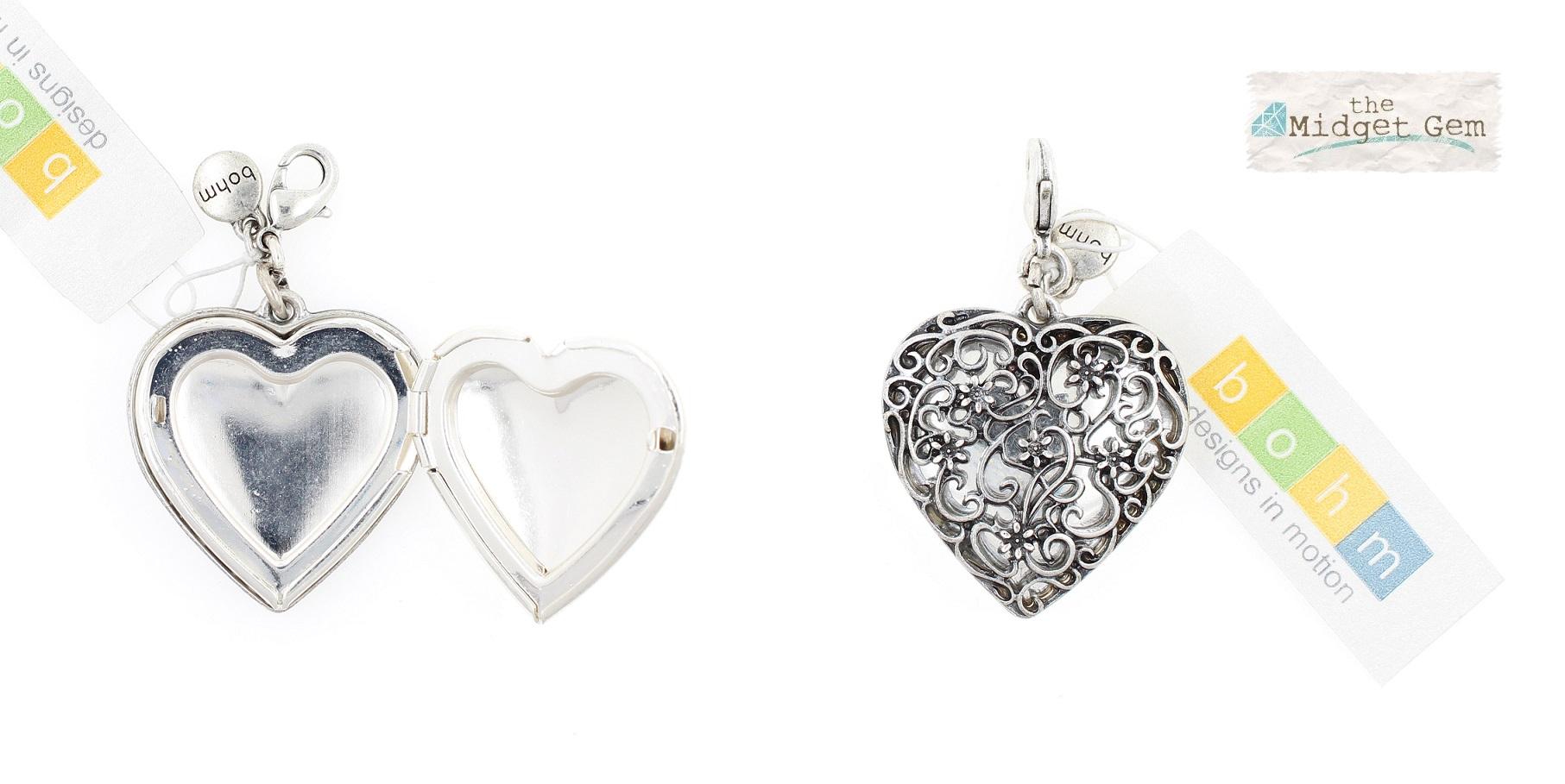 The Bohm - Summer Lovin' - 3 cm Heart Locket - Silver Plate BNWT
