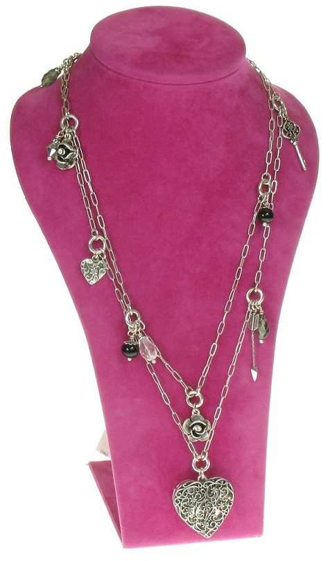 The Bohm - Summer Lovin' - Heart Locket Double Strand Long Necklace - Black/Silver Plate