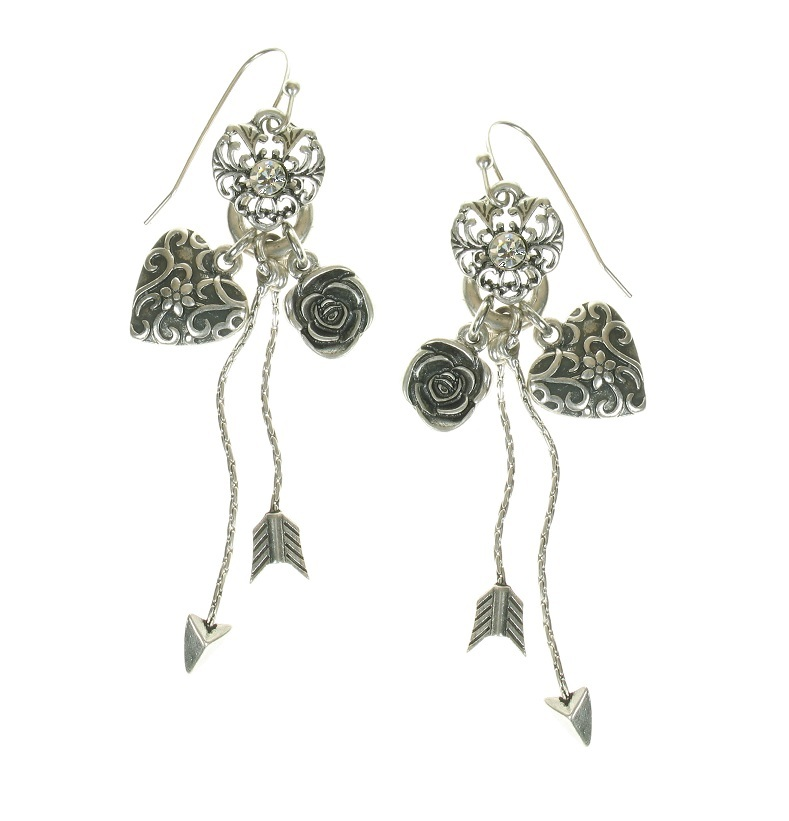The Bohm - Summer Lovin' - Heart & Rose Charm Drop Earrings - Clear/Silver Plate