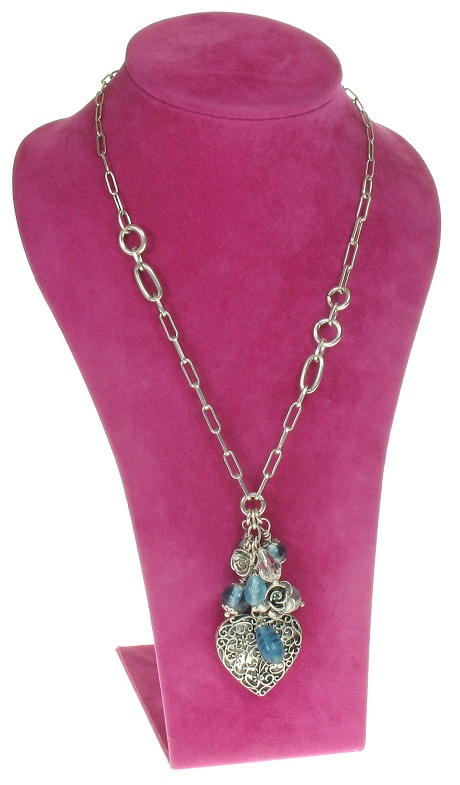 The Bohm - Summer Lovin' - Heart Locket & Rose Charm Cluster Necklace - Blue/Silver Plate