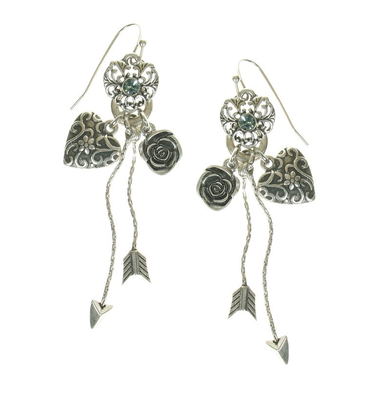 The Bohm - Summer Lovin' - Heart & Rose Charm Drop Earrings - Blue/Silver Plate