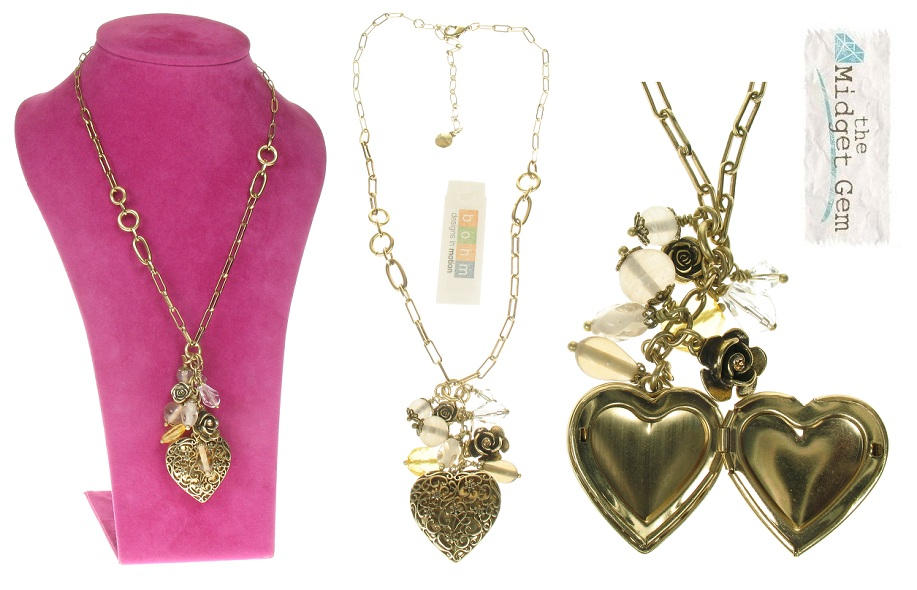 The Bohm - Summer Lovin' - Heart Locket & Rose Charm Cluster Necklace - Brown/Gold Plate