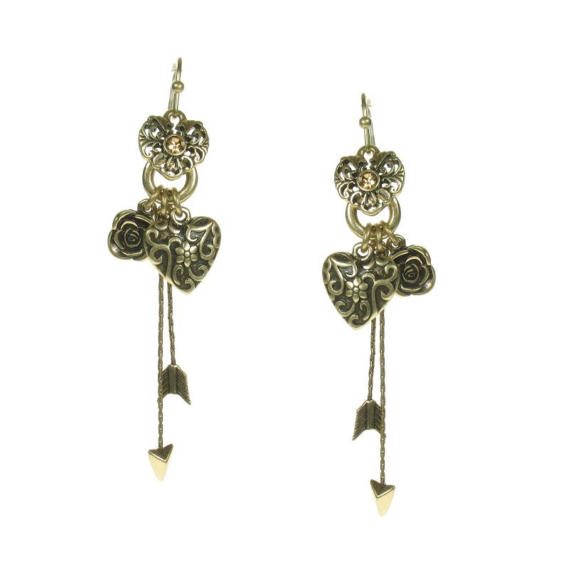 The Bohm - Summer Lovin' - Heart & Rose Charm Drop Earrings - Brown/Gold Plate