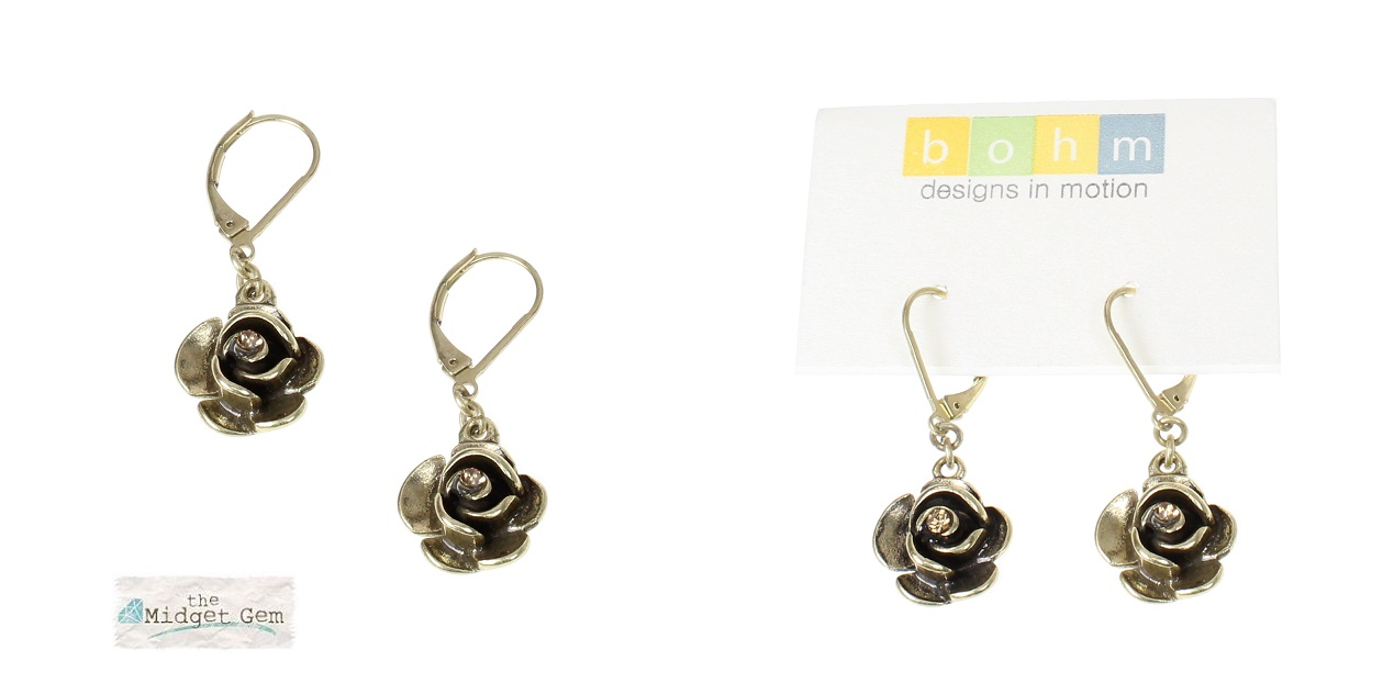 The Bohm - Summer Lovin' - Rose Earrings - Gold Plate/Topaz