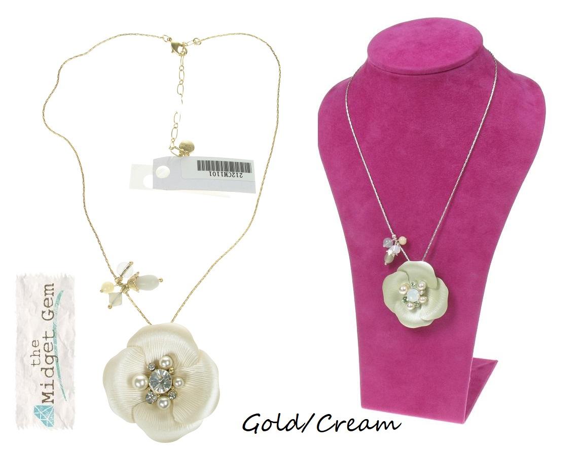 BOHM Flourescence Flower Pendant Necklace - Gold/Cream