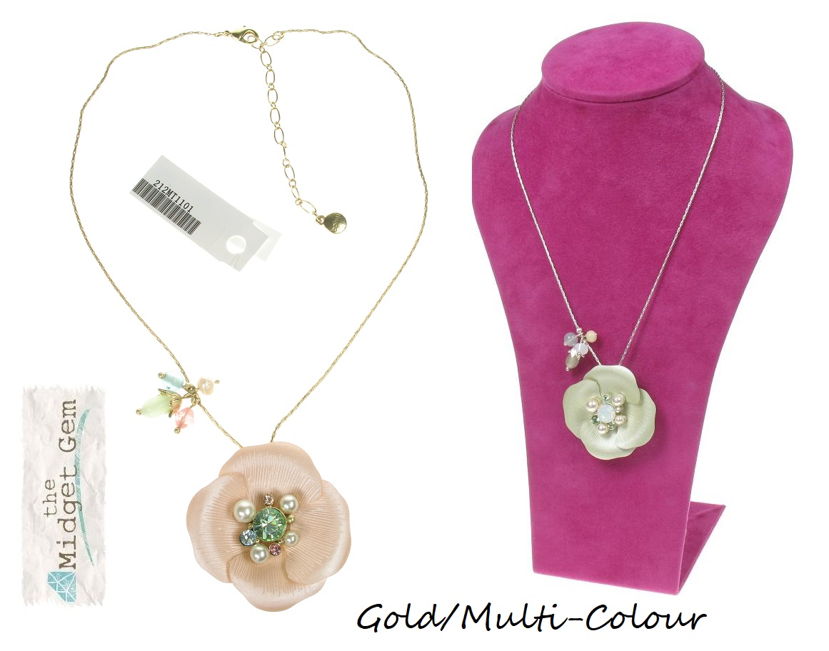BOHM Flourescence Flower Pendant Necklace - Gold/Multi-Colour