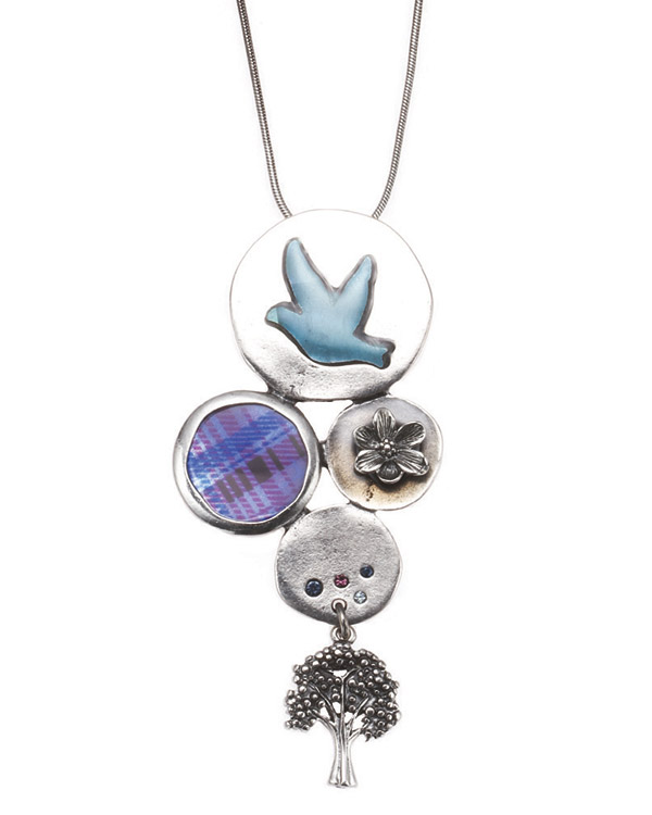 Bohm - All That Plaid - Pendant Necklace Rhodium Silver/Purple BNWT