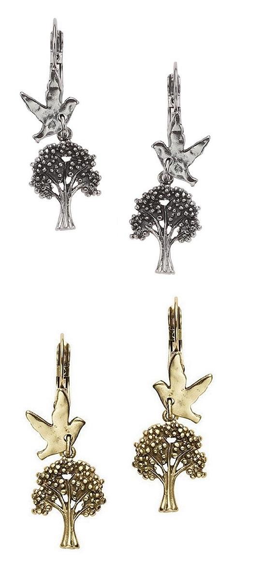 Bohm - All That Plaid - Tree & Bird Charm Earrings BNWT