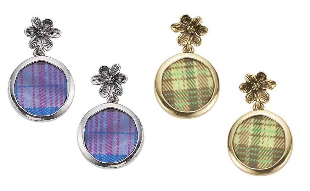 The Bohm - 'All That Plaid' - Flower & M.O.P Disc Earrings