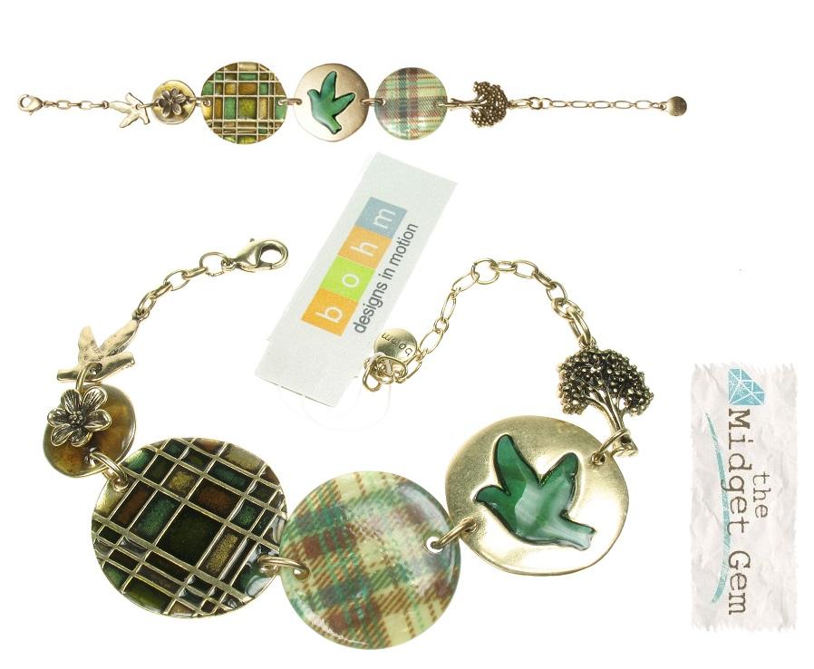 Bohm - All That Plaid - Panel Bracelet Gold/Green BNWT