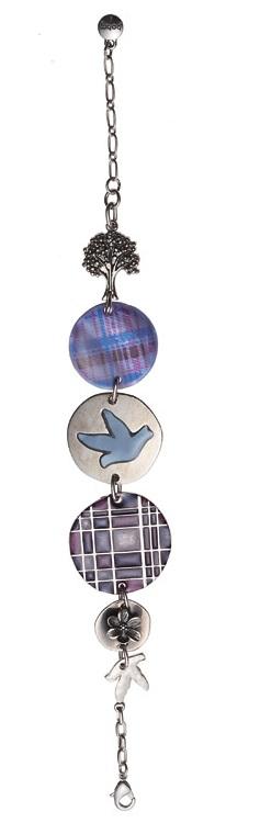 Bohm - All That Plaid - Panel Bracelet Rhodium Silver/Purple BNWT