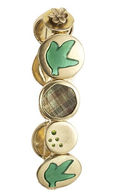 Bohm - All That Plaid - Stretch Panel Bracelet Gold/Green BNWT