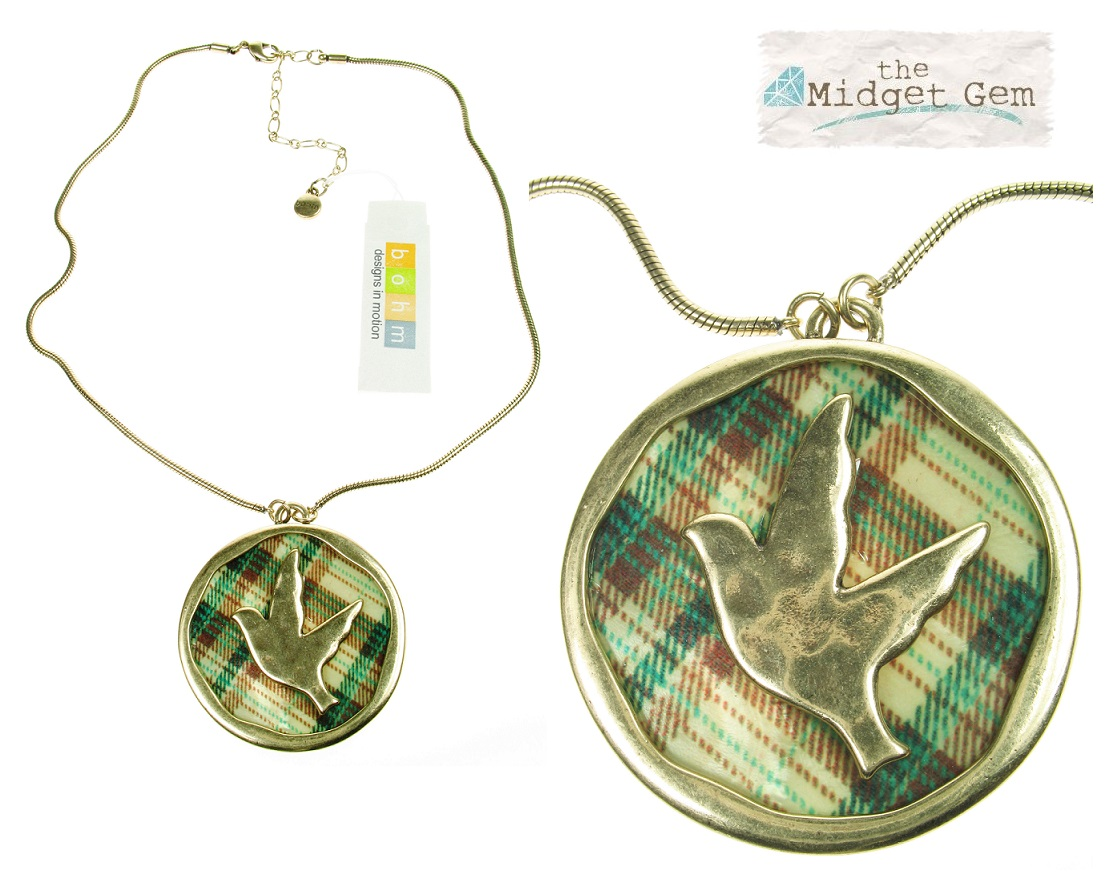 Bohm - All That Plaid - Bird Pendant Necklace Gold/Green BNWT