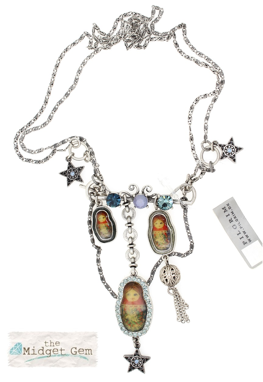 PILGRIM - Russian Doll Necklace - 2 Lengths - Silver/Blue BNWT
