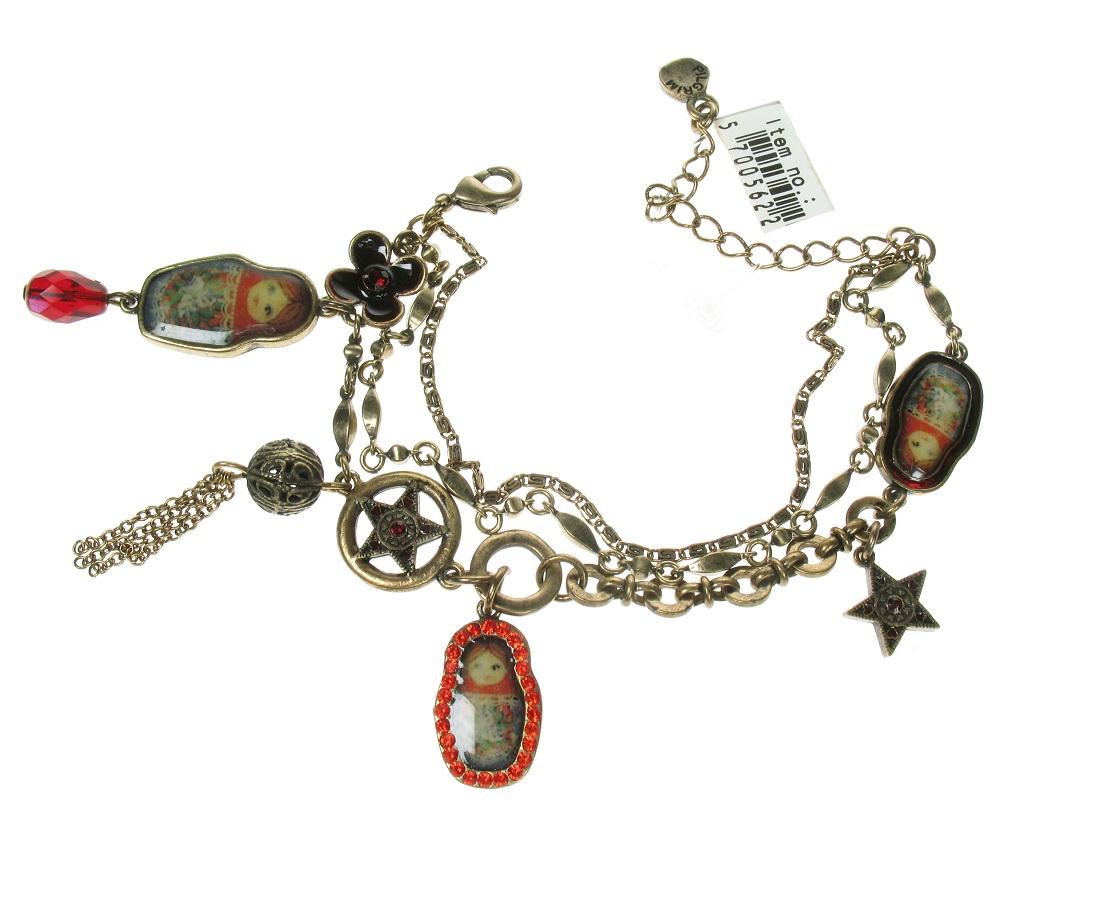 PILGRIM - Babushka Russian Doll Bracelet - Oxidised Gold/Red BNWT